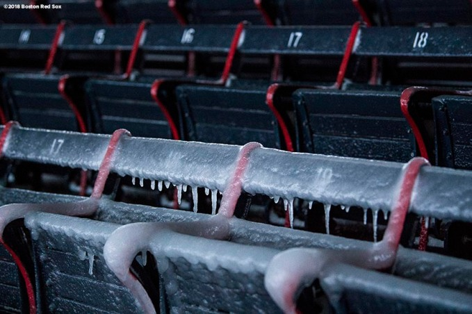 """Icicles form on the grandstand seats after the Bomb Cyclone winter storm Grayson at Fenway Park in Boston, Massachusetts Friday, January 5, 2018."""