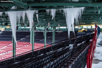 January 5, 2018, Boston, MA: Icicles form above the grandstand seats after the Bomb Cyclone winter storm Grayson at Fenway Park in Boston, Massachusetts Friday, January 5, 2018. (Photo by Billie Weiss/Boston Red Sox)