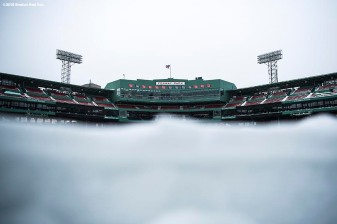 January 5, 2018, Boston, MA: The field is shown after the Bomb Cyclone winter storm Grayson at Fenway Park in Boston, Massachusetts Friday, January 5, 2018. (Photo by Billie Weiss/Boston Red Sox)