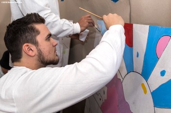 January 15, 2018, Boston, MA: Boston Red Sox rookie Michael Chavis helps paint a mural during a Martin Luther King Jr. Day Of Service at the Dimock Center in Roxbury, Massachusetts Friday, January 15, 2018. (Photo by Billie Weiss/Boston Red Sox)