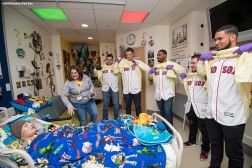 BOSTON, MA - JANUARY 16: Boston Red Sox rookies Ty Buttrey, Mike Shawaryn, Josh Ockimey, Eduardo Quiroz, and Williams Jerez visit Andrew at Boston Children's Hospital on January 16, 2018 in Boston, Massachusetts. (Photo by Billie Weiss/Getty Images for Boston Children's Hospital)