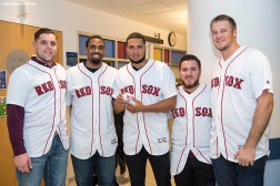 BOSTON, MA - JANUARY 16: Boston Red Sox rookies Mike Shawaryn, Josh Ockimey, Williams Jerez, Eduaro Quiroz, and Ty Buttrey visit Zachary at Boston Children's Hospital on January 16, 2018 in Boston, Massachusetts. (Photo by Billie Weiss/Getty Images for Boston Children's Hospital)