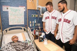 BOSTON, MA - JANUARY 16: Boston Red Sox rookies Ty Buttrey and Williams Jerez visit Luke during a visit at Boston Children's Hospital on January 16, 2018 in Boston, Massachusetts. (Photo by Billie Weiss/Getty Images for Boston Children's Hospital)