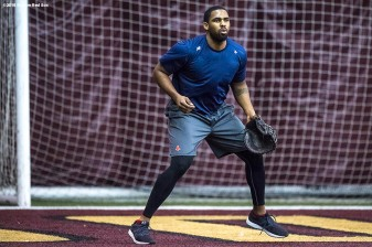 January 16, 2018, Boston, MA: Josh Ockimey fields ground balls during a 2018 Boston Red Sox Rookie Development workout at Boston College in Boston, Massachusetts Wednesday, January 17, 2018. (Photo by Billie Weiss/Boston Red Sox)