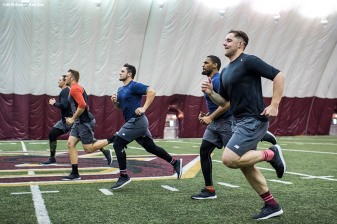 January 16, 2018, Boston, MA: Members of the 2018 rookie class run sprints during a 2018 Boston Red Sox Rookie Development workout at Boston College in Boston, Massachusetts Wednesday, January 17, 2018. (Photo by Billie Weiss/Boston Red Sox)