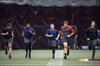 January 16, 2018, Boston, MA: Mike Shawaryn, Josh Ockimey, Michael Chavis, Ty Buttrey, and Justin Haley run sprints during a 2018 Boston Red Sox Rookie Development workout at Boston College in Boston, Massachusetts Wednesday, January 17, 2018. (Photo by Billie Weiss/Boston Red Sox)