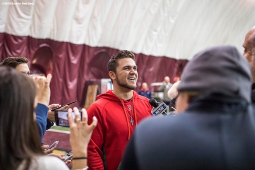 January 16, 2018, Boston, MA: Michael Chavis speaks with the media during a 2018 Boston Red Sox Rookie Development workout at Boston College in Boston, Massachusetts Wednesday, January 17, 2018. (Photo by Billie Weiss/Boston Red Sox)
