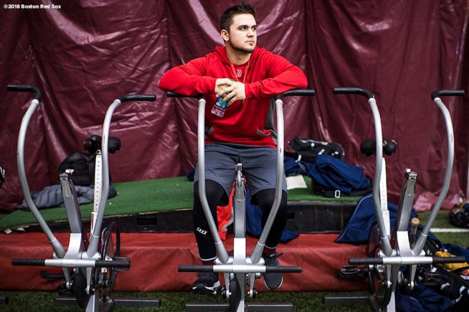 January 16, 2018, Boston, MA: Michael Chavis sits on the training bikes during a 2018 Boston Red Sox Rookie Development workout at Boston College in Boston, Massachusetts Wednesday, January 17, 2018. (Photo by Billie Weiss/Boston Red Sox)