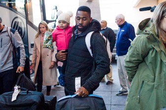 January 19, 2018, Ledyard, CT: Boston Red Sox center fielder Jackie Bradley Jr. arrives with his daughter Emerson during the 2018 Red Sox Winter Weekend at Foxwoods Resort & Casino in Ledyard, Connecticut Friday, January 19, 2018. (Photo by Billie Weiss/Boston Red Sox)
