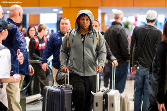 January 19, 2018, Ledyard, CT: Boston Red Sox third baseman Rafael Devers arrives during the 2018 Red Sox Winter Weekend at Foxwoods Resort & Casino in Ledyard, Connecticut Friday, January 19, 2018. (Photo by Billie Weiss/Boston Red Sox)