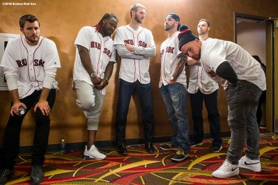 January 19, 2018, Ledyard, CT: Boston Red Sox pitcher Drew Pomeranz, designated hitter Hanley Ramirez, pitcher Chris Sale, catcher Blake Swihart, pitcher Tyler Thornburg, and catcher Christian Vazquez talk before the NESN Town Hall during the 2018 Red Sox Winter Weekend at Foxwoods Resort & Casino in Ledyard, Connecticut Friday, January 19, 2018. (Photo by Billie Weiss/Boston Red Sox)