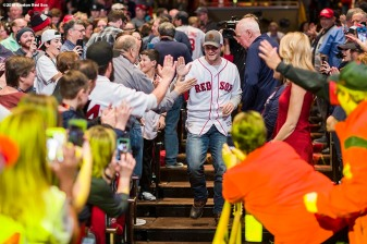 January 19, 2018, Ledyard, CT: Boston Red Sox left fielder Andrew Benintendi is introduced at the NESN Town Hall during the 2018 Red Sox Winter Weekend at Foxwoods Resort & Casino in Ledyard, Connecticut Friday, January 19, 2018. (Photo by Billie Weiss/Boston Red Sox)