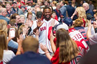 January 19, 2018, Ledyard, CT: Boston Red Sox designated hitter Hanley Ramirez is introduced at the NESN Town Hall during the 2018 Red Sox Winter Weekend at Foxwoods Resort & Casino in Ledyard, Connecticut Friday, January 19, 2018. (Photo by Billie Weiss/Boston Red Sox)