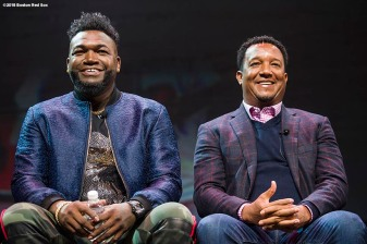 January 19, 2018, Ledyard, CT: Former Boston Red Sox designated hitter David Ortiz and former pitcher Pedro Martinez are introduced at the NESN Town Hall during the 2018 Red Sox Winter Weekend at Foxwoods Resort & Casino in Ledyard, Connecticut Friday, January 19, 2018. (Photo by Billie Weiss/Boston Red Sox)