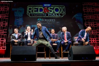 January 19, 2018, Ledyard, CT: Boston Red Sox chairman Tom Werner, President & CEO Sam Kennedy, former designated hitter David Ortiz, former pitcher Pedro Martinez, President of Baseball Operations Dave Dombrowski, and manager Alex Cora participate in a panel discussion at the NESN Town Hall during the 2018 Red Sox Winter Weekend at Foxwoods Resort & Casino in Ledyard, Connecticut Friday, January 19, 2018. (Photo by Billie Weiss/Boston Red Sox)