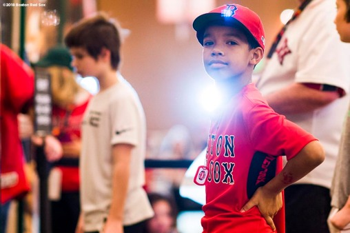 January 20, 2018, Ledyard, CT: A young fan looks on in the premier ballroom during the 2018 Red Sox Winter Weekend at Foxwoods Resort & Casino in Ledyard, Connecticut Friday, January 20, 2018. (Photo by Billie Weiss/Boston Red Sox)