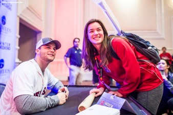 January 20, 2018, Ledyard, CT: Boston Red Sox left fielder Andrew Benintendi signs autographs for a fan during the 2018 Red Sox Winter Weekend at Foxwoods Resort & Casino in Ledyard, Connecticut Friday, January 20, 2018. (Photo by Billie Weiss/Boston Red Sox)