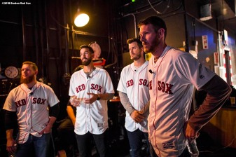 "January 20, 2018, Ledyard, CT: Boston Red Sox pitchers Craig Kimbrel, Rick Porcello, Drew Pomeranz, and Chris Sale wait backstage before the ""On The Mound"" panel discussion during the 2018 Red Sox Winter Weekend at Foxwoods Resort & Casino in Ledyard, Connecticut Friday, January 20, 2018. (Photo by Billie Weiss/Boston Red Sox)"