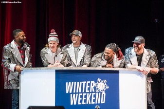 January 20, 2018, Ledyard, CT: Boston Red Sox center fielder Jackie Bradley Jr., infielder Brock Holt, left fielder Andrew Benintendi, designated hitter Hanley Ramirez, and former first baseman Kevin Youkilis react during the game show during the 2018 Red Sox Winter Weekend at Foxwoods Resort & Casino in Ledyard, Connecticut Friday, January 20, 2018. (Photo by Billie Weiss/Boston Red Sox)