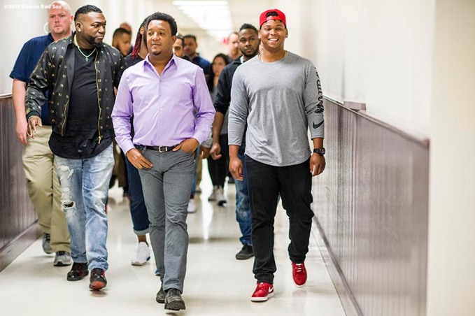 January 20, 2018, Ledyard, CT: Former Boston Red Sox designated hitter David Ortiz, former pitcher Pedro Martinez, designated hitter Hanley Ramirez, and third baseman Rafael Devers walk through the hall during the 2018 Red Sox Winter Weekend at Foxwoods Resort & Casino in Ledyard, Connecticut Friday, January 20, 2018. (Photo by Billie Weiss/Boston Red Sox)