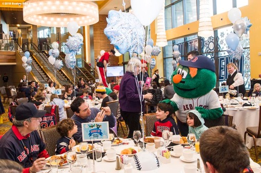 January 21, 2018, Ledyard, CT: Boston Red Sox mascot Wally the Green Monster greets fans at Wally and Tessie's Breakfast during the 2018 Red Sox Winter Weekend at Foxwoods Resort & Casino in Ledyard, Connecticut Friday, January 21, 2018. (Photo by Billie Weiss/Boston Red Sox)
