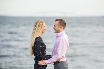 """Evan and Maggie pose for engagement photos at Fort McHenry in Baltimore, Maryland Saturday, January 27, 2018."""