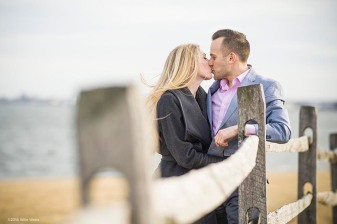"""""""Evan and Maggie pose for engagement photos at Fort McHenry in Baltimore, Maryland Saturday, January 27, 2018."""""""