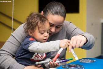 BOSTON, MA - JANUARY 29: Kairo plays with arts and crafts during the Light Up Our Hospital campaign kick-off with OSRAM at Boston Children's Hospital on January 29, 2018 in Boston, Massachusetts. (Photo by Billie Weiss/Getty Images for Boston Children's Hospital)