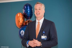 BOSTON, MA - JANUARY 29: Michael Bornhorst, Associate VP, CDSE of Boston Children's Hospital Trust, speaks during the Light Up Our Hospital campaign kick-off with OSRAM at Boston Children's Hospital on January 29, 2018 in Boston, Massachusetts. (Photo by Billie Weiss/Getty Images for Boston Children's Hospital)