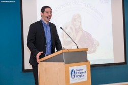 BOSTON, MA - JANUARY 29: Michael Flieger, Chief Financial Officer of OSRAM, speaks during the Light Up Our Hospital campaign kick-off with OSRAM at Boston Children's Hospital on January 29, 2018 in Boston, Massachusetts. (Photo by Billie Weiss/Getty Images for Boston Children's Hospital)