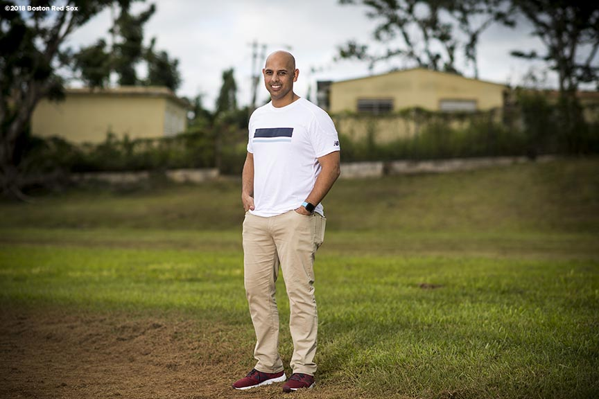 SAN JUAN, PUERTO RICO - JANUARY 30: Manager Alex Cora of the Boston Red Sox poses for a portrait on the baseball field during a Boston Red Sox hurricane relief trip from Boston, Massachusetts to Caguas, Puerto Rico on January 30, 2018 . (Photo by Billie Weiss/Boston Red Sox/Getty Images) *** Local Caption *** Alex Cora
