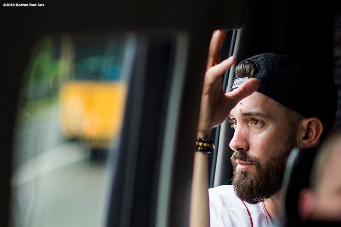 SAN JUAN, PUERTO RICO - JANUARY 30: Rick Porcello #22 of the Boston Red Sox looks on from inside the car during a Boston Red Sox hurricane relief trip from Boston, Massachusetts to Caguas, Puerto Rico on January 30, 2018 . (Photo by Billie Weiss/Boston Red Sox/Getty Images) *** Local Caption ***Rick Porcello
