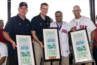 SAN JUAN, PUERTO RICO - JANUARY 30: Mayor of Caguas William Miranda Torres presents a gift to Boston Mayor Marty Walsh, Boston Red Sox President & CEO Sam Kennedy, and Manager Alex Cora of the Boston Red Sox during a Boston Red Sox hurricane relief trip from Boston, Massachusetts to Caguas, Puerto Rico on January 30, 2018 . (Photo by Billie Weiss/Boston Red Sox/Getty Images) *** Local Caption *** William Miranda Torres; Alex Cora; Sam Kennedy; Marty Walsh