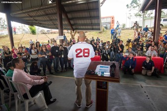 SAN JUAN, PUERTO RICO - JANUARY 30: Manager Alex Cora of the Boston Red Sox speaks during a Boston Red Sox hurricane relief trip from Boston, Massachusetts to Caguas, Puerto Rico on January 30, 2018 . (Photo by Billie Weiss/Boston Red Sox/Getty Images) *** Local Caption *** Alex Cora