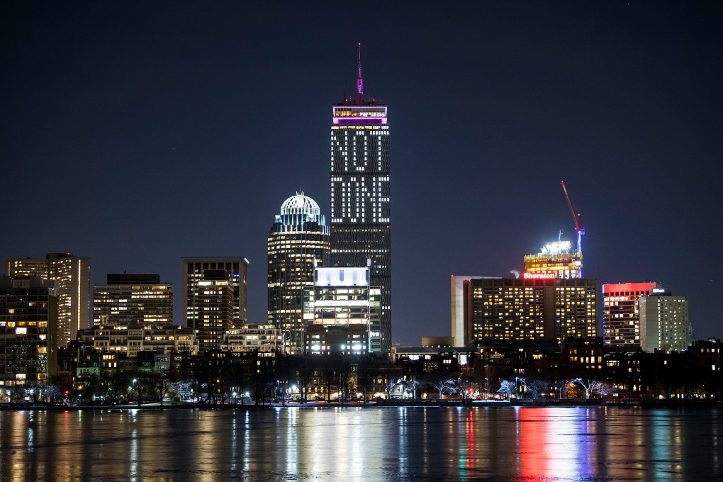 """""""The Prudential Center displays a 'Not Done' message on the night before Super Bowl 52 between the New England Patriots and the Philadelphia Eagles in Boston, Massachusetts Saturday, February 3, 2018. """""""