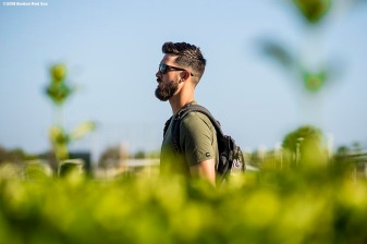 FT. MYERS, FL - FEBRUARY 12: Rick Porcello #22 of the Boston Red Sox arrives in the parking lot during a team workout on February 12, 2018 at Fenway South in Fort Myers, Florida . (Photo by Billie Weiss/Boston Red Sox/Getty Images) *** Local Caption *** Rick Porcello