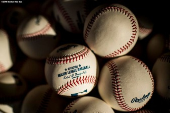 FT. MYERS, FL - FEBRUARY 12: Baseballs are shown during a Boston Red Sox team workout on February 12, 2018 at Fenway South in Fort Myers, Florida . (Photo by Billie Weiss/Boston Red Sox/Getty Images) *** Local Caption ***