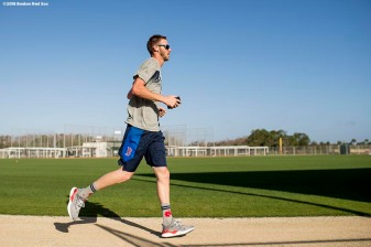 FT. MYERS, FL - FEBRUARY 12: Chris Sale #41 of the Boston Red Sox jogs around the warning track during a team workout on February 12, 2018 at Fenway South in Fort Myers, Florida . (Photo by Billie Weiss/Boston Red Sox/Getty Images) *** Local Caption *** Chris Sale