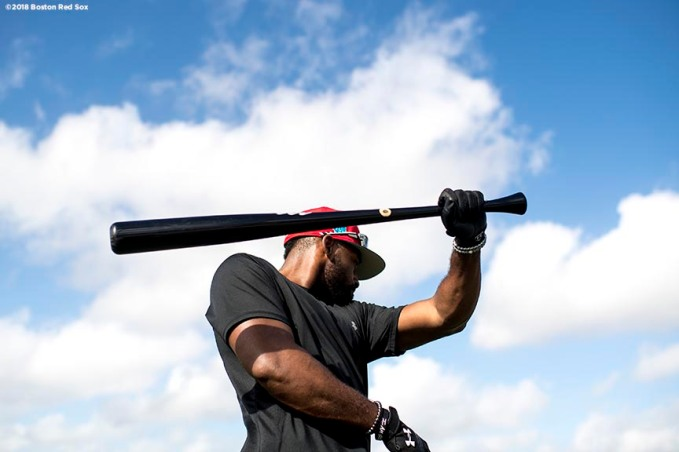 FT. MYERS, FL - FEBRUARY 12: Jackie Bradley Jr. #19 of the Boston Red Sox warms up during a team workout on February 12, 2018 at Fenway South in Fort Myers, Florida . (Photo by Billie Weiss/Boston Red Sox/Getty Images) *** Local Caption *** Jackie Bradley Jr.