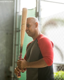 FT. MYERS, FL - FEBRUARY 13: Manager Alex Cora of the Boston Red Sox handles a bat during a team workout on February 13, 2018 at Fenway South in Fort Myers, Florida . (Photo by Billie Weiss/Boston Red Sox/Getty Images) *** Local Caption *** Alex Cora