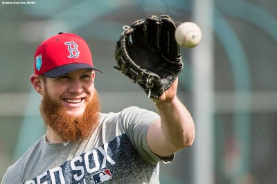 FT. MYERS, FL - FEBRUARY 13: Craig Kimbrel #46 of the Boston Red Sox reacts during a team workout on February 13, 2018 at Fenway South in Fort Myers, Florida . (Photo by Billie Weiss/Boston Red Sox/Getty Images) *** Local Caption *** Craig Kimbrel
