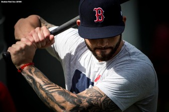 FT. MYERS, FL - FEBRUARY 13: Blake Swihart #23 of the Boston Red Sox warms up during a team workout on February 13, 2018 at Fenway South in Fort Myers, Florida . (Photo by Billie Weiss/Boston Red Sox/Getty Images) *** Local Caption *** Blake Swihart