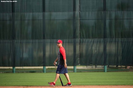 FT. MYERS, FL - FEBRUARY 13: Manager Alex Cora of the Boston Red Sox looks on during a team workout on February 13, 2018 at Fenway South in Fort Myers, Florida . (Photo by Billie Weiss/Boston Red Sox/Getty Images) *** Local Caption *** Alex Cora