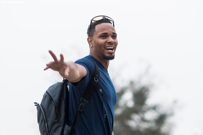 FT. MYERS, FL - FEBRUARY 14: Xander Bogaerts #2 of the Boston Red Sox arrives during a team workout on February 14, 2018 at Fenway South in Fort Myers, Florida . (Photo by Billie Weiss/Boston Red Sox/Getty Images) *** Local Caption *** Xander Bogaerts