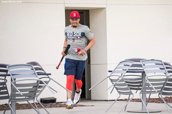 FT. MYERS, FL - FEBRUARY 14: Mookie Betts #50 of the Boston Red Sox exits the clubhouse during a team workout on February 14, 2018 at Fenway South in Fort Myers, Florida . (Photo by Billie Weiss/Boston Red Sox/Getty Images) *** Local Caption *** Mookie Betts