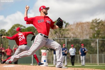 FT. MYERS, FL - FEBRUARY 14: Rick Porcello #22 of the Boston Red Sox pitches alongside David Price #24 during a team workout on February 14, 2018 at Fenway South in Fort Myers, Florida . (Photo by Billie Weiss/Boston Red Sox/Getty Images) *** Local Caption *** Rick Porcello; David Price