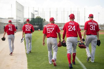 FT. MYERS, FL - FEBRUARY 14: Chris Sale #41, Rick Porcello #22, Eduardo Rodriguez #57, David Price #24, and Drew Pomeranz #31 of the Boston Red Sox walk off the field during a team workout on February 14, 2018 at Fenway South in Fort Myers, Florida . (Photo by Billie Weiss/Boston Red Sox/Getty Images) *** Local Caption *** Chris Sale; Rick Porcello; Eduardo Rodriguez; David Price; Drew Pomeranz