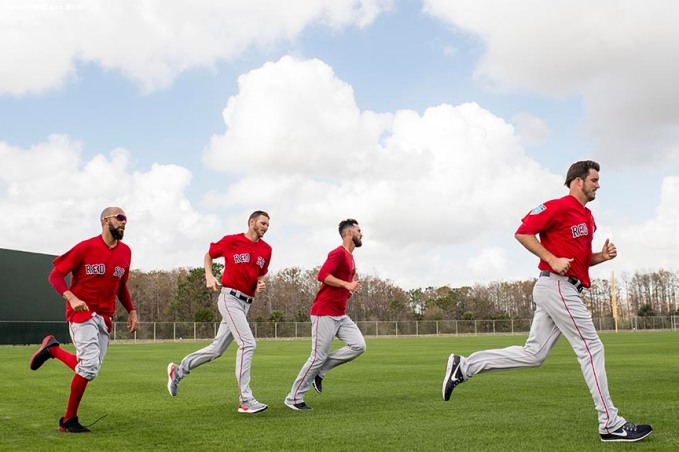 FT. MYERS, FL - FEBRUARY 14: David Price #24, Chris Sale #41, Rick Porcello #22, and Drew Pomeranz #31 of the Boston Red Sox run laps around the field during a team workout on February 14, 2018 at Fenway South in Fort Myers, Florida . (Photo by Billie Weiss/Boston Red Sox/Getty Images) *** Local Caption *** David Price; Chris Sale; Rick Porcello; Drew Pomeranz
