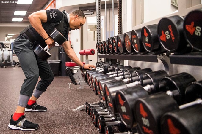 FT. MYERS, FL - FEBRUARY 15: Mookie Betts #50 of the Boston Red Sox lifts weights in the weight room during a team workout on February 15, 2018 at Fenway South in Fort Myers, Florida . (Photo by Billie Weiss/Boston Red Sox/Getty Images) *** Local Caption *** Mookie Betts