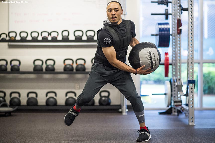 FT. MYERS, FL - FEBRUARY 15: Mookie Betts #50 of the Boston Red Sox works out in the weight room during a team workout on February 15, 2018 at Fenway South in Fort Myers, Florida . (Photo by Billie Weiss/Boston Red Sox/Getty Images) *** Local Caption *** Mookie Betts